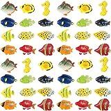 Boao 48 Stücke Tropische Fische Figur Spiel Satz, Tropische Fische Party Gefallen, Verschiedene Plastik Fische Spielzeug, Meer Tiere Spielzeug für Kinder, 1,5 Zoll lang