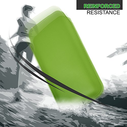 iPhone 7/8 Hülle Grau Sleeve [OneFlow Slide Cover] Ultra-Slim Schutzhülle Dünn Handyhülle für iPhone 7/8 Case Full Body Handytasche Kunst-Leder Tasche EMERALD-GREEN