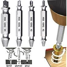 Phego Dañado extractor de tornillos, tornillo removedor y Extractor Set - Conjunto de 4 Dañado tornillo removedor
