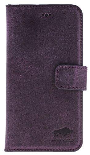 Solo Pelle Iphone 7 / 8 abnehmbare Lederhülle (2in1) inkl. Kartenfächer für das original Iphone 7 / 8 ( Kroko-Rot ohne Öffnung für das Apple Logo ) inkl. Edler Geschenkverpackung Vintage Lila