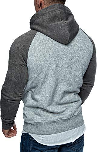 Amaci&Sons Herren Zipper Kapuzenpullover Sweatjacke Pullover Hoodie Sweatshirt 1-04030 Hellgrau/Anthrazit S - 5