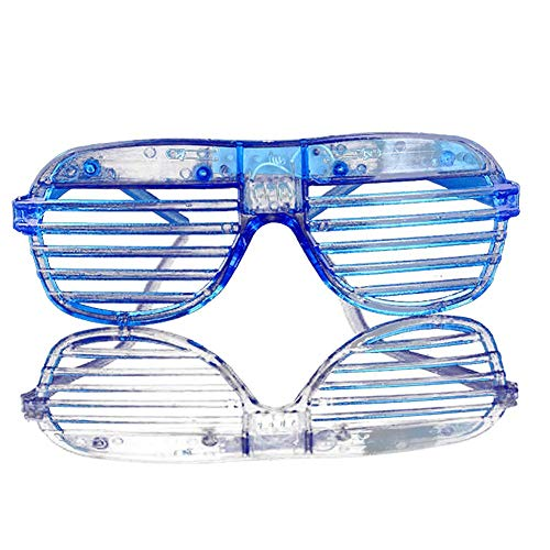 Ogquaton Premium-Qualität 2 Stück im Dunkeln leuchten LED-Brille Bulk Light Up Rave Brille Halloween Neon Party Supplies Partyartikel, Shutter Shades Brille blau Batterie enthalten