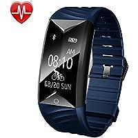 Fitness Tracker, AsiaLONG Fitness Armband Herzfrequenz IP67 Wasserdicht Uhr Schrittzähler Aktivitätstracker für iOS und Android Handy (Mit Schlaf-Monitor, Call Nachricht Reminder, Fahrrad Modus)