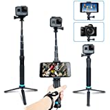 AFAITH Impermeable Selfie palo de aleación de aluminio Hand Grip Telescópico Handheld Monopod para GoPro Hero 4/5/6, iPhone 7 / 7 Plus / 6s Plus / 6s / 6, Samsung Galaxy S8 S7 and Smartphones GP073
