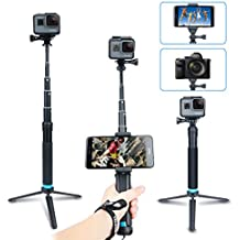 AFAITH Impermeable Selfie palo de aleación de aluminio Hand Grip Telescópico Handheld Monopod para GoPro Hero 4/5/6, iPhone 7 / 7 Plus / 6s Plus / 6s / 6, Samsung Galaxy S8 S7 and Smartphones GP073