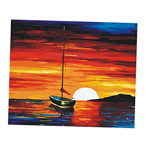 Phenovo DIY Paint by Numbers Kit 16x20 inches Canvas Oil Painting with Acrylic Pigment Anniversary Gifts for Boys and Girls - sunset, 40x50cm