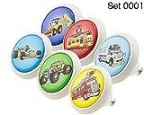 Designer Keramik Möbelknöpfe Set 0001 GH Autos 6er - Möbelknauf, Kommode, Schublade, Schrank, Griffe, Porzellan, Kinder, Kinderzimmer