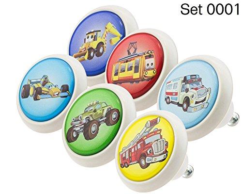 Designer Keramik Möbelknöpfe Set 0001 GH Autos 6er - Möbelknauf, Kommode, Schublade, Schrank, Griffe, Porzellan, Kinder, - Knöpfe Kommode Autos