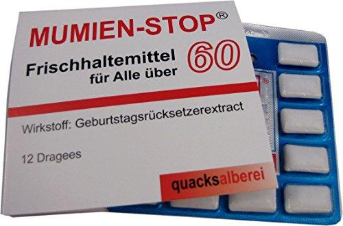 """quacksalberei Witzige Kaugummis""""MUMIEN-STOP 60"""" zum 60. Geburtstag"""