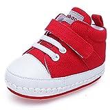 DELEBAO Babyschuhe Baby Sneaker Turnschuhe Krabbelschuhe Aus Segeltuch mit Weicher und Rutschfester Sohle für Baby Schuhe Jungen und Mädchen (Rot,9-12 Monate)