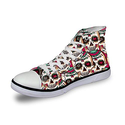 AXGM - Zapatillas de Lona para Mujer, diseño de Calavera con...