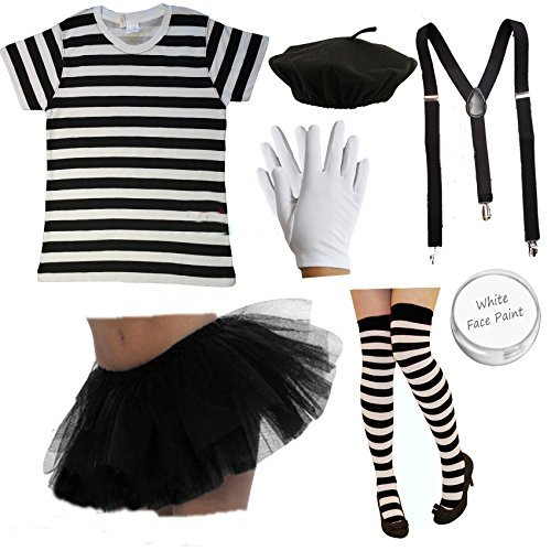 Ladies FRENCH MIME-Kostüm-SET 7-teilig