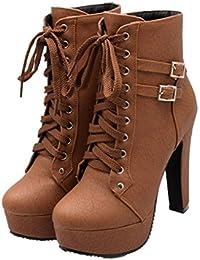 Xianshu Plataforma Tacón Alto Zapatos Cordones Buckle Tobillo Botas