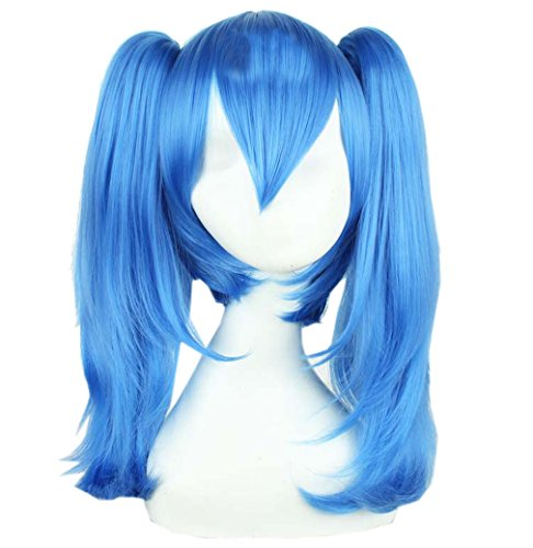 51c6ywKhaoL SHINING EASYBUY Blue Medium Straight Party Wig With 2 Ponytail Costume Cosplay UK best buy Review