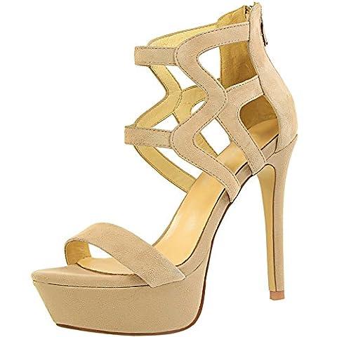 Chaussures talons hauts Femmes Bout OuBeige Sandales De BIGTREE Gladiateur Plateforme Stiletto Boucle Sandales Beige 37 EU