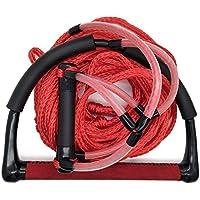 Jranter Water - Cuerda de esquí con Mango de Radio y empuñadura EVA, Color Amarillo y Negro, Unisex Adulto, Rojo, 60 Feet