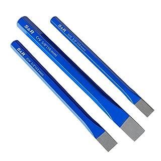 S&R Flachmeißel-Set 3-teilig: 16 x 170 mm, 12 x 150 mm, 10 x 140 mm aus CHROM-VANADIUM   Handmeißel Meissel