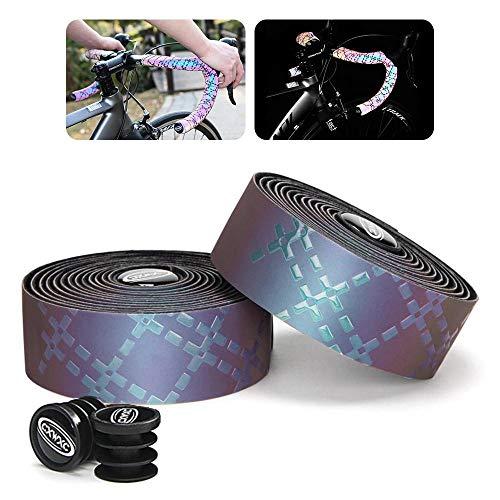 Volwco Reflektierende Fahrrad-Lenker-Bänder, 2 Rollen, Fahrrad-Lenkerband, Rutschfester Griff, mit Lenker-Endstopfen für Rennräder, Mountainbike, 220 x 3 cm