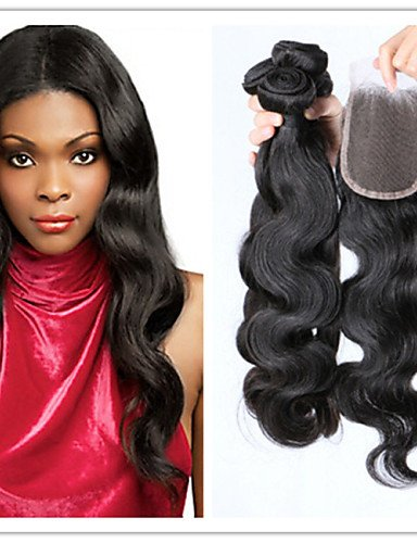 IJKIU jff/4/lot Wholesale 100% unbehandeltes Malaysisches Haar Body Wave Human Hair Weaving gewellt mit Top Lace Schließung Hair Extensions, 14 14 14 & 12-3 Part (Human Hair Extensions Gewellt)