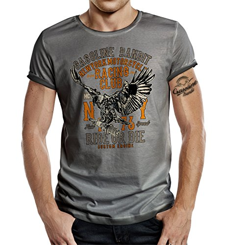 Körperbetontes Slimfit Biker Racer T-Shirt im Used Vintage Look: New York Racing S -