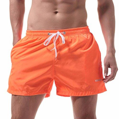 OverDose Herren Shorts Badehose Schnelltrocknend Beach Surfing Running Badeshorts Strandshorts Strandhose(A-Orange ,M)