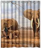 PETGOOD Duschvorhang Afrika Elefant viele schöne Duschvorhänge zur Auswahl, hochwertige Qualität, Wasserdicht, Anti-Schimmel-Effekt 180 x 200 cm