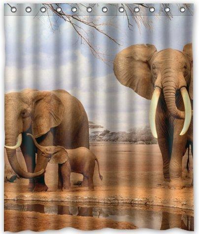 PETGOOD Duschvorhang Afrika Elefant viele schöne Duschvorhänge zur Auswahl, hochwertige Qualität, Wasserdicht, Anti-Schimmel-Effekt 180 x 200 - 5 Halloween-thema Iphone