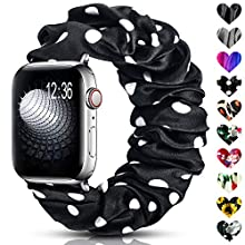DigiHero Scrunchie Elastic Watch Strap Compatible for Apple Watch Strap 38mm 42mm 40mm 44mm,Soft Pattern Printed Fabric Sport Replacement Wristbands for Women with iwatch Series 5/4 /3/2 /1(Dot D)