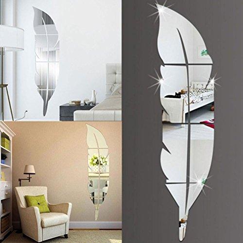 Logobeing Espejo de Plumas Extraíble Pared Pegatinas Etiqueta Arte Vinilo Casa Habitación Decoración DIY (Plata)