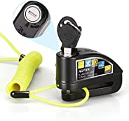 AGPTEK Candado Disco Moto con Alarma Antirrobo Acero 7mm 110DB para Motos, Motocicletas, Bicicletas, Candado B