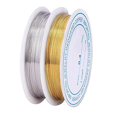 Mudder 0.4 mm Bare Copper Wire Tarnish Resistant Copper Wire Jewelry Wire for Jewelry Beading and Craft Making, 2