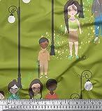 Soimoi Verde Jersey de algodon Tela farola Figura humana tela artesanal impresa por metro 58 Pulgadas de ancho