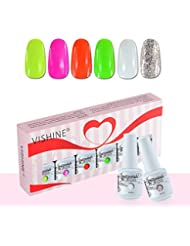 Vishine Lot de 6 x 8ml Cadeau Vernis à Ongles Gel Soak Off Semi Permanente Gelpolish Manucure Kit C086