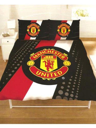Manchester United FC Stripe Crest Double Duvet Cover & Pillowcase Set