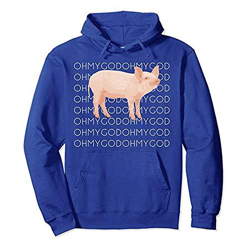Kapuzenpullove-Damen Pulli Langarm t-Shirt-Frauen Nettes Schwein Print Color Letter Pullover Sweatshirt-Jumper Oberteile - Rollkragen Sweatshirt-lose Bluse -Damen Blusen(Blau,S)