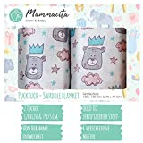 Baby Pucktuch 2er Set - Swaddle Blanket aus 100% zertifizierter Baumwolle - Musselin Puckdecke mit Bären - ideal als Babydecke, Stilltuch, Spucktuch, Babytragetuch - 2 Stück (120x120 cm + 75x75 cm)