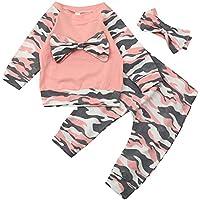 Covermason Bebé Hermana Conjunto, Moda Impresión Mono Camiseta + Camuflaje Pantalones + Sombrero para 0-24M Niñas (3PCS/1 Conjunto) (0-6M, Camiseta)