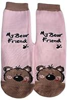 """Weri Spezials Chaussettes pour Enfants avec ABS, Couleur: Rose, """"My bear friend"""""""