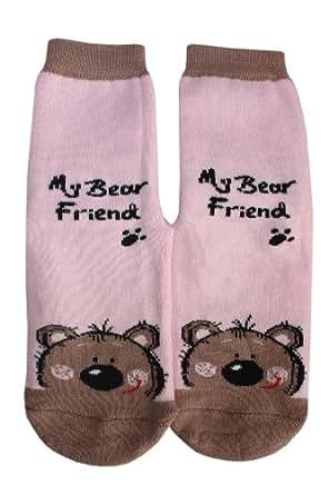 """Weri Spezials Chaussettes pour Enfants avec ABS, Couleur: Rose, """"My bear friend"""", Taille: 12-24 mois (19-22)"""