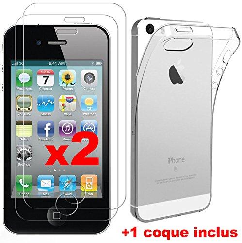 2 Film Vitre Verre Trempé de protection ecran + 1 coque gel silicone pour APPLE IPHONE 4 4S by Campus Telecom®