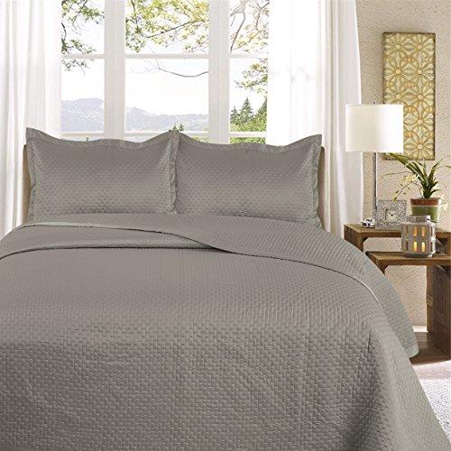 Uni Couette chaude pour lit Patchwork Édredon Jeté de lit   Polysatin   Taille 220 x 240 cm   Samphira Gris   par Mode de coton