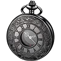 ساعة جيب LYMFHCH Vintage Pocket Watch Roman Numerals Scale Quartz Mens Womens Watch with Chain Christmas Graduation Gift Birthday Day Dad G-Black