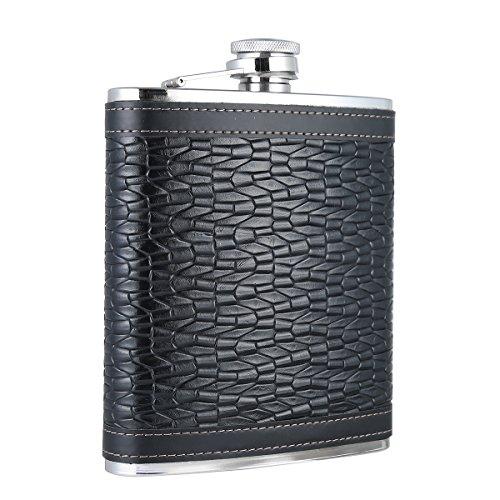 taneaxon 18oz groß Kapazität schwarz Flachmann mit Leder umwickelten-Edelstahl und undurchlässig
