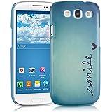 kwmobile Hardcase Hülle für Samsung Galaxy S3 i9300 / S3 Neo i9301 mit Smile Design - Hartschale Backcover Case Schutzhülle Cover in Blau Türkis
