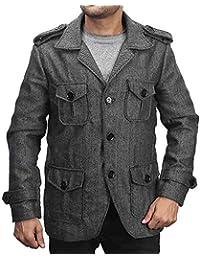 Bareskin men's black and grey self-woven woolen coat