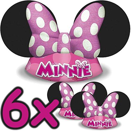 6 x Minnie Mouse Hüte ┃ für Kinder und Erwachsene ┃ Kindergeburtstag ┃ Kinder lieben diese Maus Hütchen Verkleidung ✔ (Liebe Erwachsene Plus Kostüme)