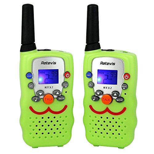 Retevis RT32 Walkie Talkie für Kinder 8 Kanäle 0,5W PMR446 Funkgerät Vox Scan mit Taschenlampe Gürtelclip und Halsschlaufe Walki Talki Kinder Spielzeug Spy-Gear (1 Paar, Hellgrün)