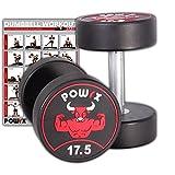 POWRX Professionell Rundhantel 2er Set | Gummi Kurzhantel Beschichtung GERUCHSNEUTRAL 5-30 kg | Verchromt und gerändelt | Studioqualität (17.5)