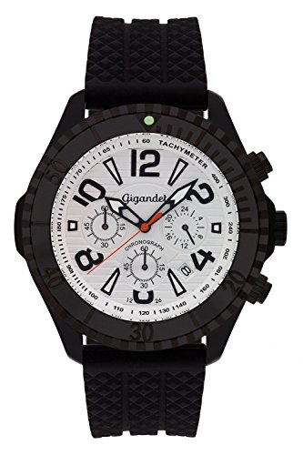 Gigandet Reloj de Hombre Cuarzo Aquazone Cronógrafo Analógico Silicona Negro G23-003