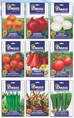 Tradico SUPER HYBRID Combo VON Zwiebel / 3 Typen, Tomate / 3 Typen UND Pfeffer 3 Typen (AVG 40/50 + SAMEN JEDER) Marke Omaxe Verkauft von Super Agri Green (Agro-tomaten-samen)